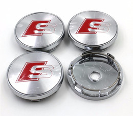 Wholesale Audi A8 Wheels - car styling,4pcs 60mm RS logo Car Wheel Hub Cap Center Caps Emblem Badge For AUDI A3 A4 A5 A6 A7 A8 S3 S4 S5 S6 S7