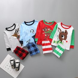 Wholesale Kids Winter Pjs - 2017 Baby Boys Girls Christmas Pajamas Kids Long Sleeve Xmas PJS Cotton Children Autumn Clothing Set Striped Plaid Pants