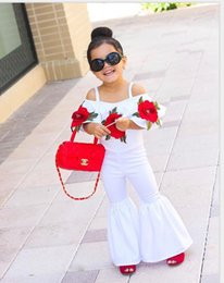 Wholesale Girls Summer Flower Tops - New Fashion Girls Sets Red Rose Flower Embroidered Off Shoulder Tops + Bell-bottoms 2piece Set Summer Outfits Baby Suits