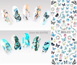 Wholesale Nail Butterfly Stickers - Wholesale-DS072 2015 Nail Design Water Transfer Nails Art Sticker Colored Butterfly Nail Wraps Sticker Watermark Fingernails Decals