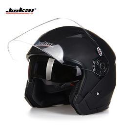 Wholesale Helmets Vintage - Wholesale- Helmet motorcycle open face capacete para motocicleta cascos para moto racing Jiekai motorcycle vintage helmets with dual lens