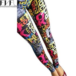 Wholesale Colorful Posters - Wholesale- Fashion Ladies Casual Spring Summer Pullover Ankle-Length Crazy Colorful Poster Printed cotton polyester ankle length Leggings