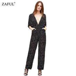 Wholesale Working Women Jumpsuit - Wholesale- ZAFUL Summer UK Women Jumpsuit black Sexy Deep V Neck Plaid Print Backless Pocket Work Wear Girls Long Romper Macacao Feminino
