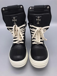Wholesale Wholesale Western Shoes - 2018 New list Men Boots Arrival Shoes Basic High-TOP Ankle Genuine Leather Luxury Trainers Silver Owen Snow Boots Casual Zip Flats Shoes