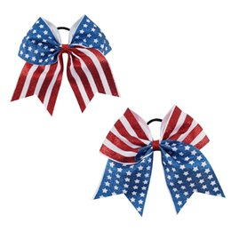 Wholesale Wholesale Elastic For Hair Ties - 4th of July Cheer Bow Patriotic Glitter Elastic Hair Ties Cheerleader Bow With Ponytail Holder For Girl Cheerleader
