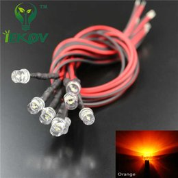 Wholesale Toys Car 12v - Wholesale- IEKOV 20 LED 5mm Pre-Wired Resistor 12v DC LED DIODE orange Flat top Wide Angle Pre wired Light Diodes 20CM for car toy DIY