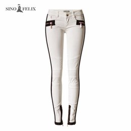 Wholesale Leather Panel Trousers - Wholesale- Women's jeans Spring tides occur popular ivory white low waist elastic leather decorative chain mesh embroidery denim trousers