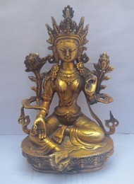 Wholesale H Ornament - H: 8.5 inch 22CM Old Tibetan Buddhism brass Green Tara God Buddha Statue  sculpture