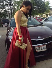 Wholesale Halter Neck Top Slit - Top Gold Sequins Halter Black Girls Prom Dress Sparkly Party Dresses Burgundy Satin Skirt Front Slit A-Line Graduation Dresses