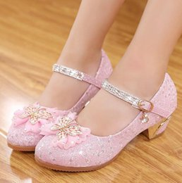 Wholesale Shining Crystal High Heels - 2017 Spring Children Girls High-heeled Shoes Crystal Paillette Shining Butterfly Bowknot Princess Shoes Korean Soft-soled Thin Shoes
