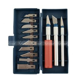 Wholesale Polymer Clay Sets - Wholesale- 13 pcs Precision Blades set Alloy Plastic Carving Tools mud sculpture, paper carving and polymer clay Engraving Carving Tools