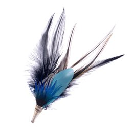 Wholesale Celtic Clothing Women - Wholesale- lureme Native American Women Men Ethnic Style Jewelry Pheasant 9 Different Feather Brooch Pin Clothing Accessories (br000003 )