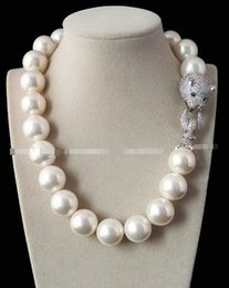 Wholesale Shell Pendant Heart - Huge 20mm Genuine White South Sea Shell Pearl Necklace 19'' AAA Crystal Clasp
