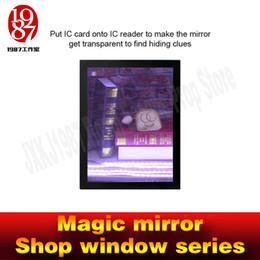 Wholesale Shop Props - Room escape prop Magic mirror -shop window series put IC card onto IC reader to make mirror get transparent to find hiden clues jxkj1987