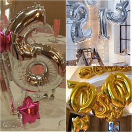 Wholesale Digital Foil - 40 Inch 0-9 Digital Number Foil Balloons Silver Christmas Party Decoration Wedding Happy Birthday Decoration Baby Shower
