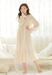 06669d9f14 Wholesale- Free Shipping 100% Cotton Princess White Long Pyjamas Pink Nightgown  Women s Sleepwear Ladies pijamas femininos