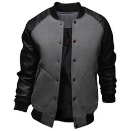 Wholesale Mens Jackets Wholesalers - Wholesale- New Gray Baseball Jacket Men 2015 Fashion Design Black Pu Leather Sleeve Mens Slim Fit College Varsity Jacket Brand Veste Homme