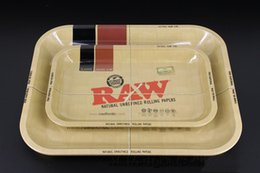 Wholesale Cigarette Tray - Raw tray Rolling Tray Metal Cigarette Smoking Rolling Trays Tobacco Plate 3 Size Available Smoking Accessories 0266114