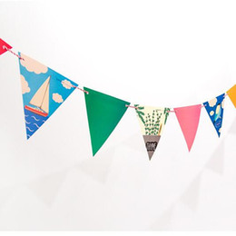 Wholesale Holiday Doors - Wholesale- Colorful Travel Holiday Cute Bunting Hanging Paper Garland Wedding&Event&Party Banner Shower Kid Room Door Show Flags Decorati