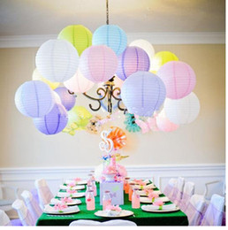 "Wholesale Light Pink Paper Lanterns - Mulit color option6 ""10"" 8'' Inch (20cm) Chinese paper lantern round lamp Wedding Decor glim festival decoration Lampion party scaldfish"
