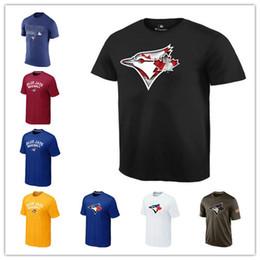 Wholesale Big Tall Men Shirts - 2017 Toronto Blue Jays Tshirts Cheap Baseball Jerseys Printed Big Tall Banner Logos Red Black White Blue Green Salute To Service T-shirts
