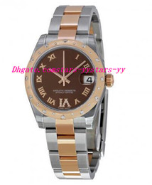 Wholesale rose 31 - Top Quality Luxury Watches Lady 31 Chocolate Dial Steel And 18K Rose Gold Ladies Watch Wrist Watches