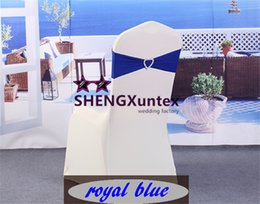 Wholesale Royal Wedding Bands - Royal Blue Color Lycra Spandex Chair Band With Buckle Used On Wedding Spandex Chair Cover Free Shipping