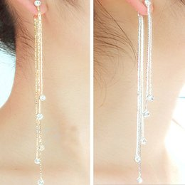 Wholesale Crystal Chandeliers China - New Fashion 5 Chain Gold Silver Long Tassel Earrings For Women Crystal Statement Earrings Charm Jewelry ER801