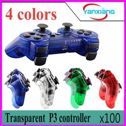 Wholesale Ps Controller Bluetooth - 100pcs Transparent case Wireless Bluetooth Gamepad Gaming For PS3 ZY-PS-04