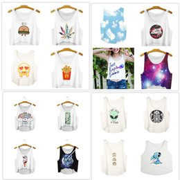 Wholesale 3d Sexy Cartoon Girls - DHL freeship 16 colors Women Fashion Vest Cartoon Letter Galaxy 3D Print Sleeveless Short Crop Top Summer sexy Girl Camis Tanks Tops T-Shirt