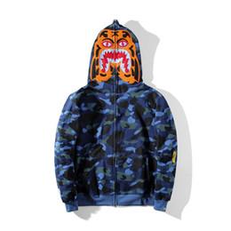 Wholesale Men Jacket Sweater Zipper - Autumn New Arrival Men's Embroidery Thin Fleece Sweater Jacket Men Women Casual Camouflage Tiger Print Hoodie Jacket Tops
