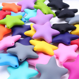 Wholesale Star Shaped Beads - 20PCS Lot 100% BPA Free Food-Grade DIY Silicone Chew Beads 38MM Soft Star Shape Silicone Teething Beads Baby Necklace&Bracelet Made