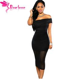 Wholesale Celebs Dresses Red - 3 Color Celeb Hot Summer Strapless Clubwear Vestido 2016 Black Off-the-shoulder Splice Red Bodycon Midi Dress LC60937 17410