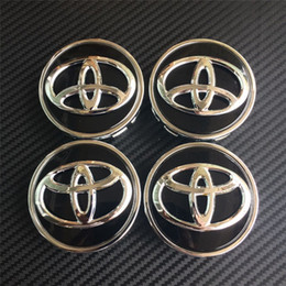 Wholesale Wheel Center Hub Covers - 4pcs 63mm chrome black wheel center caps hub cover car badges emblemn for toyota COROLLA RAV4 LEVIN