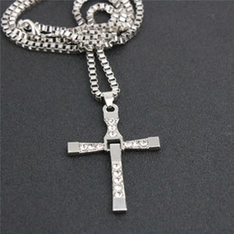 Wholesale Cool Chain Necklace Links - Fashion Men Cross Rhinestone Necklace Cool Fast and Furious Movie Pendant Necklaces Alloy Silver Plated Short Chain Short For Boyfriend