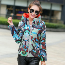 Wholesale Ladies Grey Down Winter Coat - Stand Collar Print Ladies Fashion Coat Winter Zipper Down Jacket Pockets Special Offer Women Slim Cotton Padded Parka