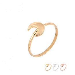 Wholesale Thick Silver Rings - Fashion Thick Half Moon Rings Gold Silver Rose Gold Plated Simple Jewelry Men Women Sailor Jewelry EFR083 Fatory Price