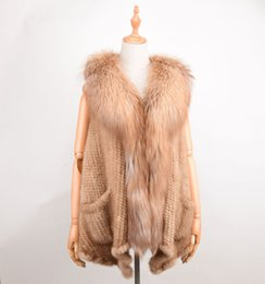 Wholesale Real Fur Vest Women Mink - Real Mink Fur Vest fox fur collar Autumn-Winter Women Shawl Fashion Mink Luxury Winter Women's Fur short Poncho