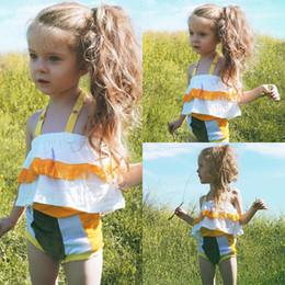Wholesale Girls Halter Vest - New Baby Girls Clothing Sets Girls Outfits Smmer Tassel Sleeveless Halter Vest Tops + Pants Shorts 2pcs Sets Girl Casual Suits Set A6933