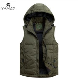 Wholesale Hooded Vest Large - Wholesale- L-5XL 2016 men with high-grade fashion casual White duck down sleeveless vest Men's collar Business large size hooded jacket
