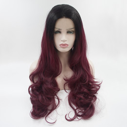 Wholesale High Quality Red Wig - Factory supply black to wine red ombre wavy synthetic lace front wigs for women high quality synthetic hair free shipping