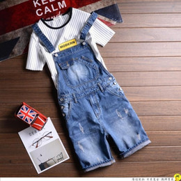 Wholesale Overalls Male - Wholesale- Men summer denim overalls Male Suspenders Jeans Shorts knee length ripped jeans Front Pockets jumpsuits Male Bibs shorts 031501