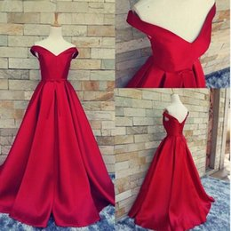 Wholesale Empire Ruffles - 2017 Vintage Evening Dresses V-neck Backless Lace Up Prom Dresses Sleeves A-Line Sash Satin Evening Gown Guest Dresses Free Necklace