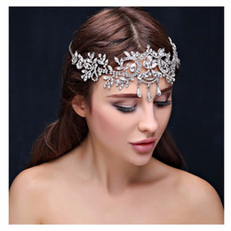 Wholesale Crowns Tiaras Women - Bling Bling bridal Hairbands Crystal Headbands women Hair Jewelry Wedding accessories crystal Tiaras Crowns Head Chain