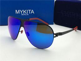 Wholesale Red Screws - new mykita sunglasses ultralight frame without screws HUBERT goggles frame flap top men brand designer retro coating mirror lens
