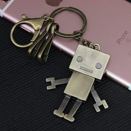 Wholesale Robot Keychain Metal - Wholesale Retro Activity Robot Keychain Metal Anti Bronze Keychain for gifts Creative Model Key Chain Rings Free Shipping