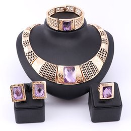 Wholesale Purple Costume Jewelry - Fashion Costume Jewelry Sets African beads necklace Austrian Crystal Purple Gem Women Wedding Party Gold Color Gift Jewelry Set