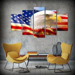 2019 arte da bandeira 5 Pçs / set Emoldurado HD Impresso Eagle Flag EUA Arte Da Parede Da Lona Impressão Cartaz Canvas Fotos Pintura A Óleo Animais de Estimação arte da bandeira barato