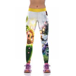 Wholesale Sunflower Pants - 2017 New KYK1085 Fashion Plants vs Zombies Sunflower Prints Sexy Girl Pencil Yoga Pants GYM Fitness Workout High Waist Women Leggings