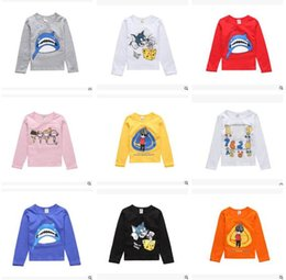 Wholesale Clothing For Little Girls - Kids Spring FALL Brand Cartoon Long Sleeve T-shirts for Baby Boys and Girls Clothes Animal Shark Little Girl Princess Costumes Free Shipping